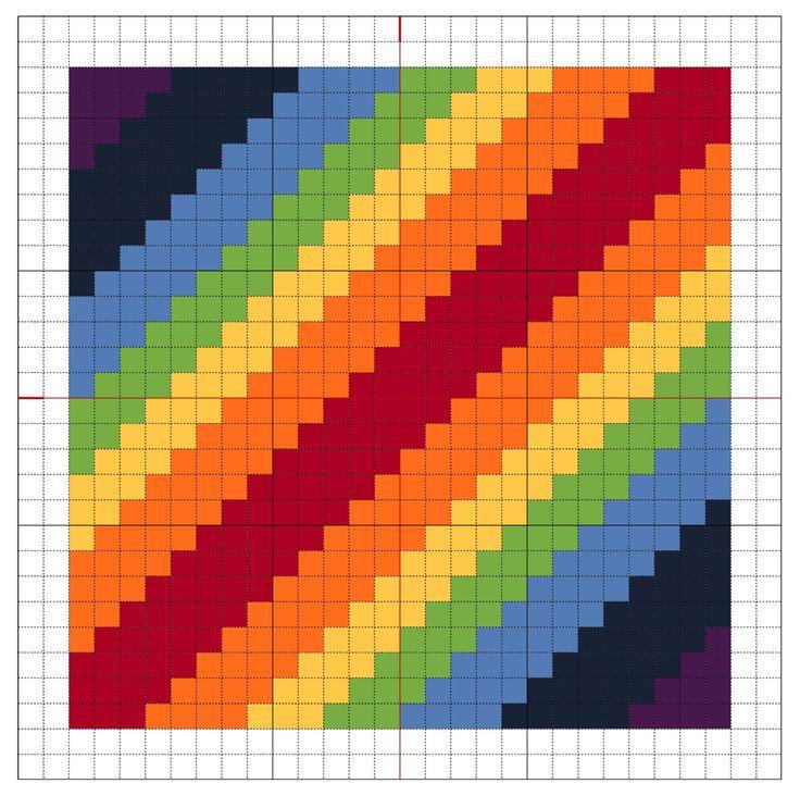 Rainbow Blocks #1 - A series of 9 rainbow blocks for stitching.