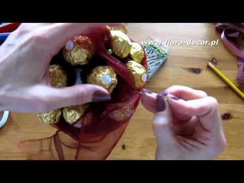Jak zrobić bukiet z cukierków Ferrero Rocher część 2/2 - YouTube