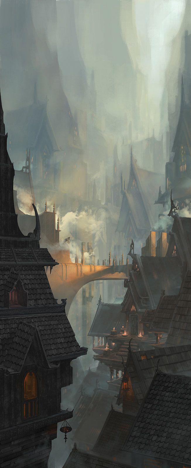 Medieval Cave City, Wilson Lin on ArtStation at https://www.artstation.com/artwork/medieval-cave-city