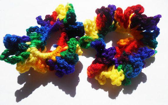 Girls Hair Scrunchie Set, Rainbow Dash, Rainbow Brite, Multi colored, Crochet hair accessories, My little pony, kids hair tie, gift for her
