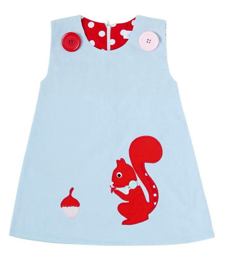 Squirrel Appliqué pinafore dress