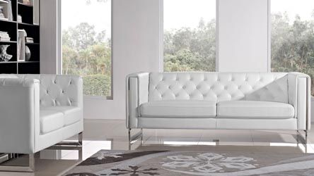 Modern White Leatherette 2 Piece Easton Sofa Set with Stainless Steel Legs | Zuri Furniture