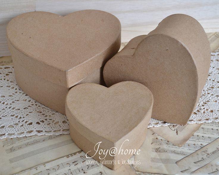 Dikke kraft harten doosjes in 3 afm. met of zonder kantje