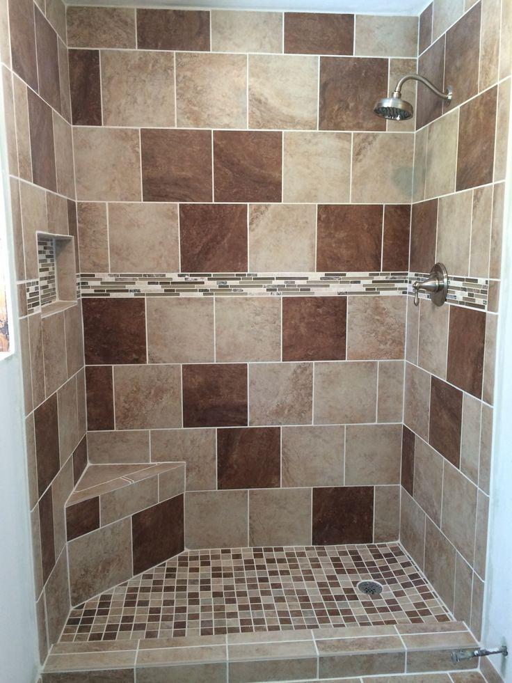 Beige brown tile shower with corner bench tile shower for Brown beige bathroom ideas