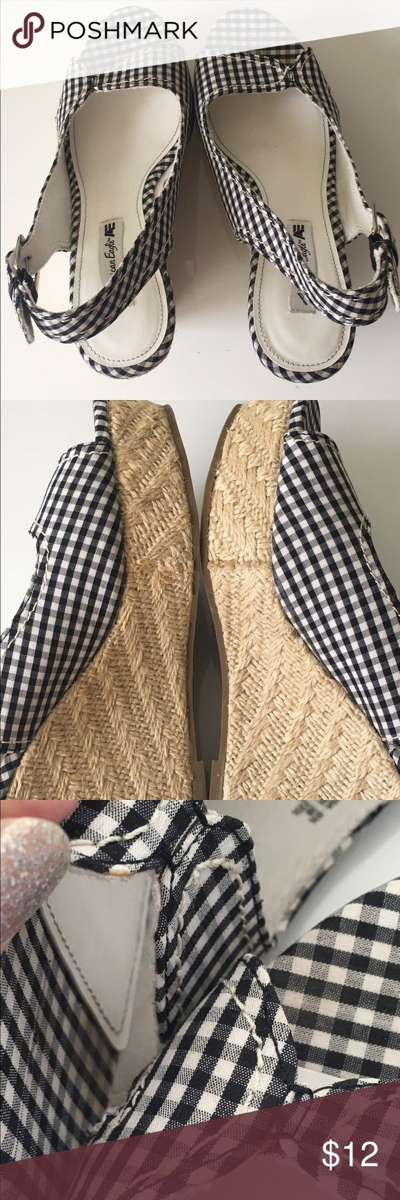 American Eagle wedges size 6 1/2 shoes These wedges are super cute. Great for stocking up for the spring time. Has two very small yellow spots as pictures. Heel measures 4 1/4 inches. These are in great condition. ⭐️don't forget to bundle American Eagle Shoes Wedges