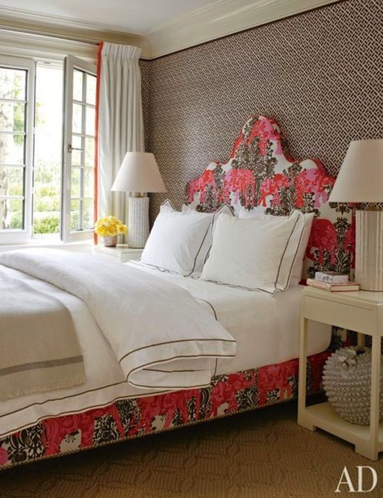 china seas fabric, printed fabric bed and headborad, guest bedroom, Hampton style