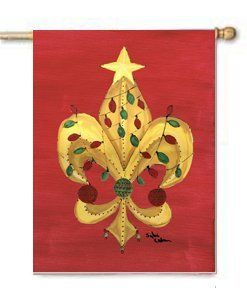 Fleur De Lis Christmas Flag Large Canvas House Flag 28x40 Inches by CTI. $39.99. House flag is made from a 100% polyester heavy weight canvas material. Not your typical house flag that you might find from a mass merchant.  This flag is much heavier than most flags currently being sold by other manufacturers. This flag is fade resistant and weather proof. The flag measures approximately 28 inches x 40 inches (wooden flag pole, hanging bracket or yard stand sold se...
