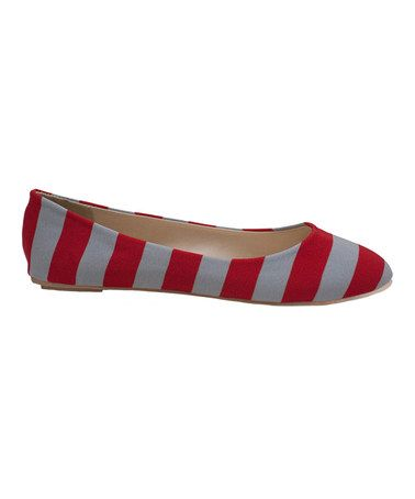 OSU Gameday Flats :)  Take a look at this Scarlet & Gray Game Day Stripe Ballet Flat - Women by Lillybee University on #zulily today!  $33.99