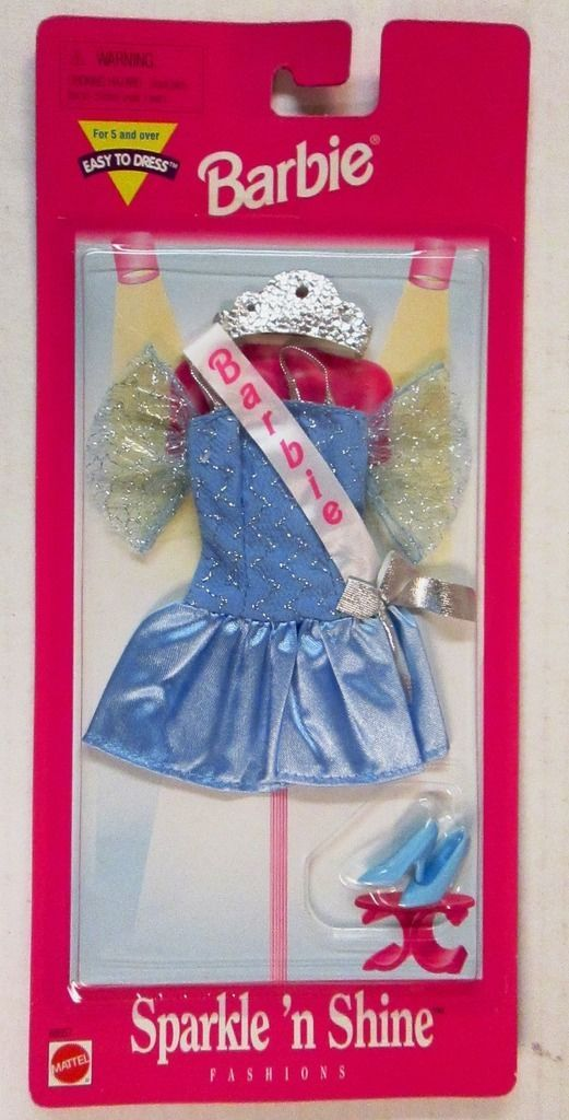 1997 Barbie SPARKLE N SHINE Fashions Light Blue Lace Beauty Pageant Dress with Barbie Name Logo Sash Crown 68657