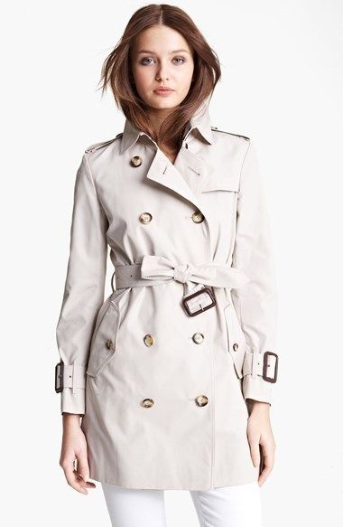 Burberry Brit 'Marystow' Double Breasted Poplin Short Trench Coat