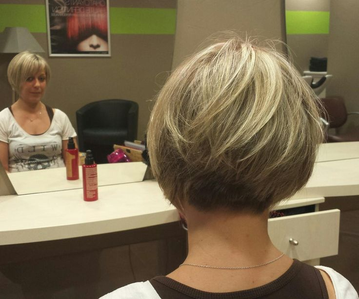 Short bob on fine hair, graduated tightly to a very short nape.