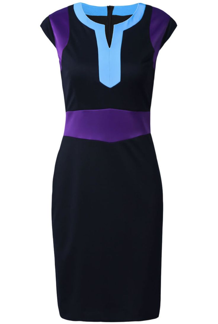 Black Contrast Collar Cap Sleeve Bodycon Dress