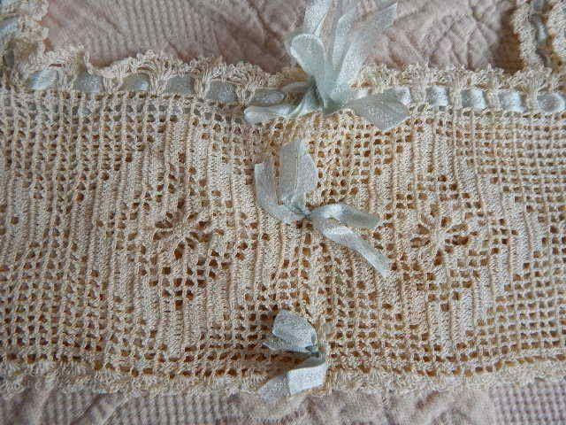 Gorgeous Antique Hand Crochet Lace & Silk Ribbon Yoke Nightgown Corset Top