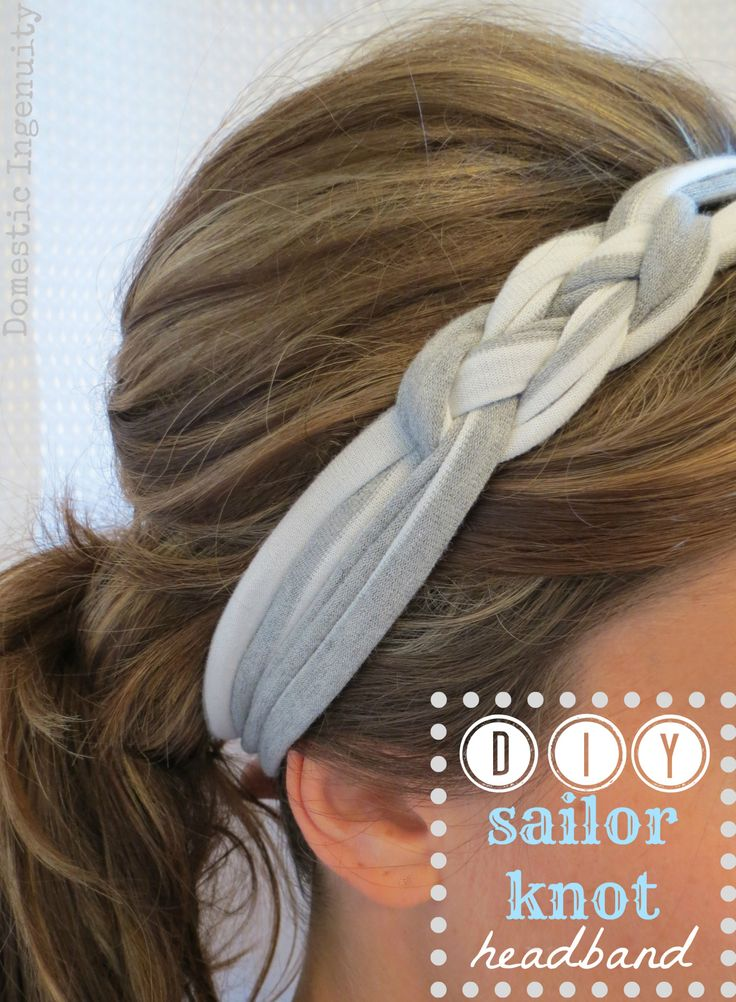 Sailor knot headband, made with a used T-shirt.