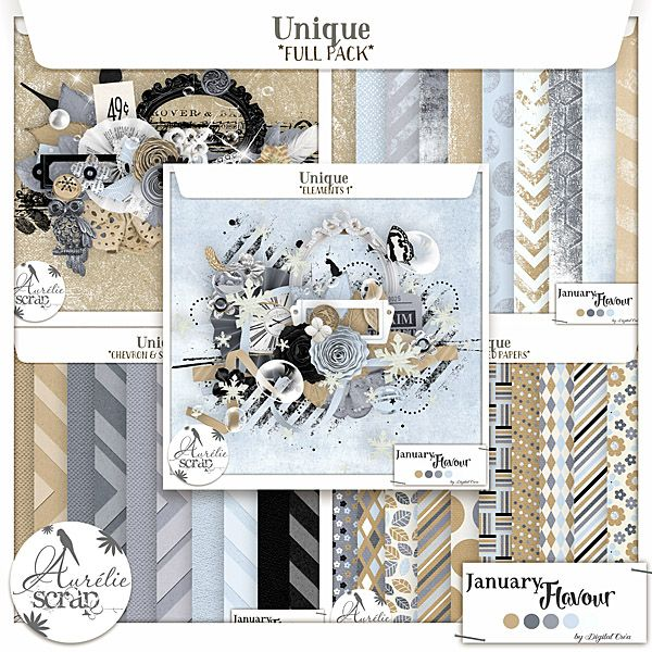 "Bundle ""Unique"" digital scrapbooking kit by Aurelie Scrap. A winter touch in this very shiny bundle pack. I propose you this pack of bundle which can only embellish your most beautiful photos. Here is my January Flavour 2016."