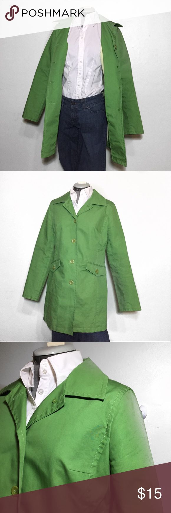 """Ann Taylor Loft Spring Green Trench Coat M Flaw Ann Taylor Loft Spring Green Trench Coat. There is no material tag, Feels like a stiff cotton that it is water and wind resistant. Size M measures flat approximately: 16"""" across shoulders, 18"""" across chest, 16"""" across waist, 20"""" across hips, 31"""" long, 24"""" sleeve. Flaw- small red spot on Left elbow. Dry Clean. 216/100/022318 LOFT Jackets & Coats Trench Coats"""
