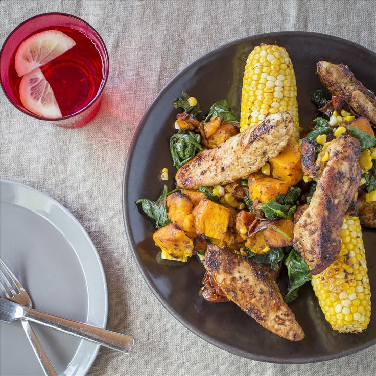 LEMON SPICED CHICKEN WITH CORN AND BUTTERNUT HASH