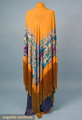 Printed Silk Shawl | 1920s | Augusta Auctions | March/April 2005 | Vintage Clothing & Textile Auction | Lot 857
