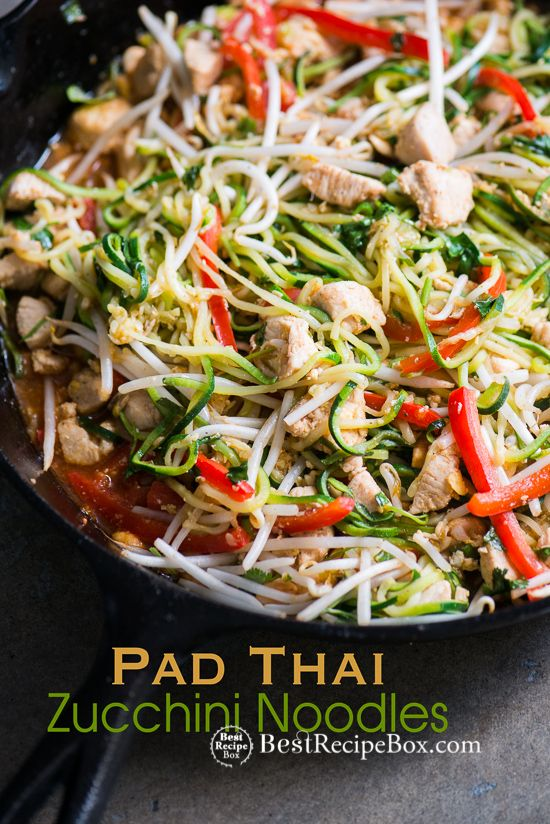 Easy pad thai recipe with zucchini noodles and chicken. This quick and healthy zucchini noodle pad thai recipe is amazing! Healthy pad thai recipe chicken