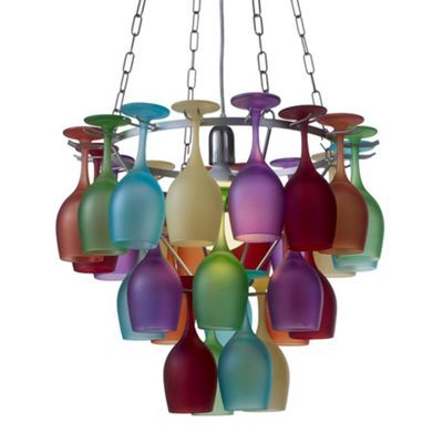 Multi Coloured 3 Tier Wine Glass Chandelier