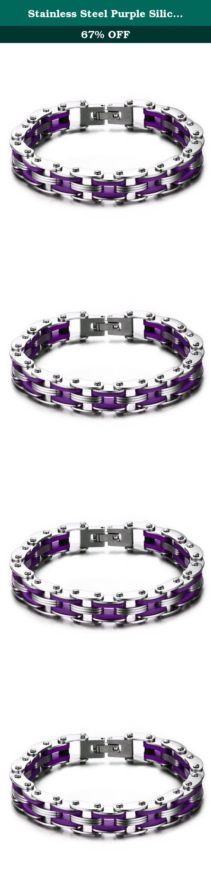 Stainless Steel Purple Silicone Men's Bicycle Bike Chain Bracelet for Men,Bold and Chunky. The Vnox Discover the Vnox of elaborate and fashion jewelry. The high-quality jewelry featured in the Vnox offers great values at affordable Price, they mainly made of high quality Stainless Steel,Tungsten,Alloy and Leather. Find a special gift for a loved one or a beautiful piece that complements your personal style with jewelry from the Vnox. Stainless Steel Stainless steel has increasingly grown…