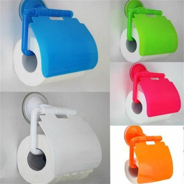 Paper Holder Wall Mounted Suction Cup Plastic Bathroom Toilet