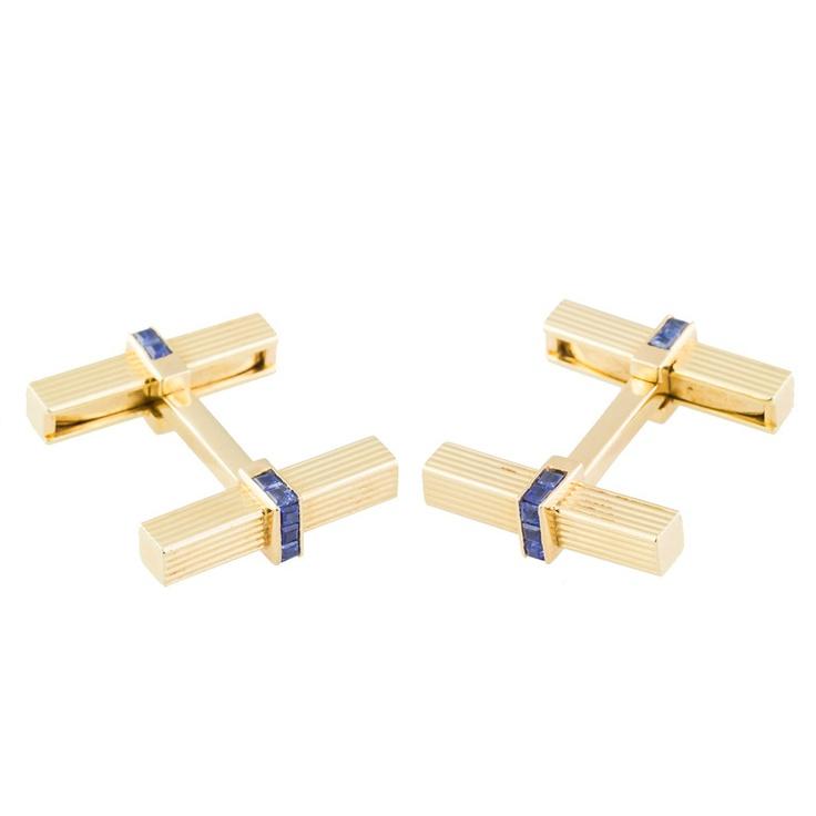 TIFFANY & CO. Sapphire Gold Bar Cufflinks
