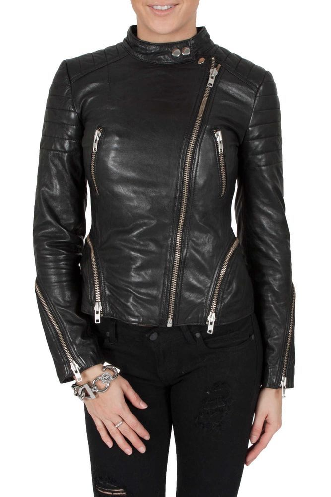 24232625e Women's Genuine Lambskin Motorcycle Real Leather Jacket Slim fit ...