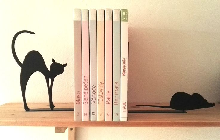 Mouse and Cat Bookends by KureliDesign on Etsy