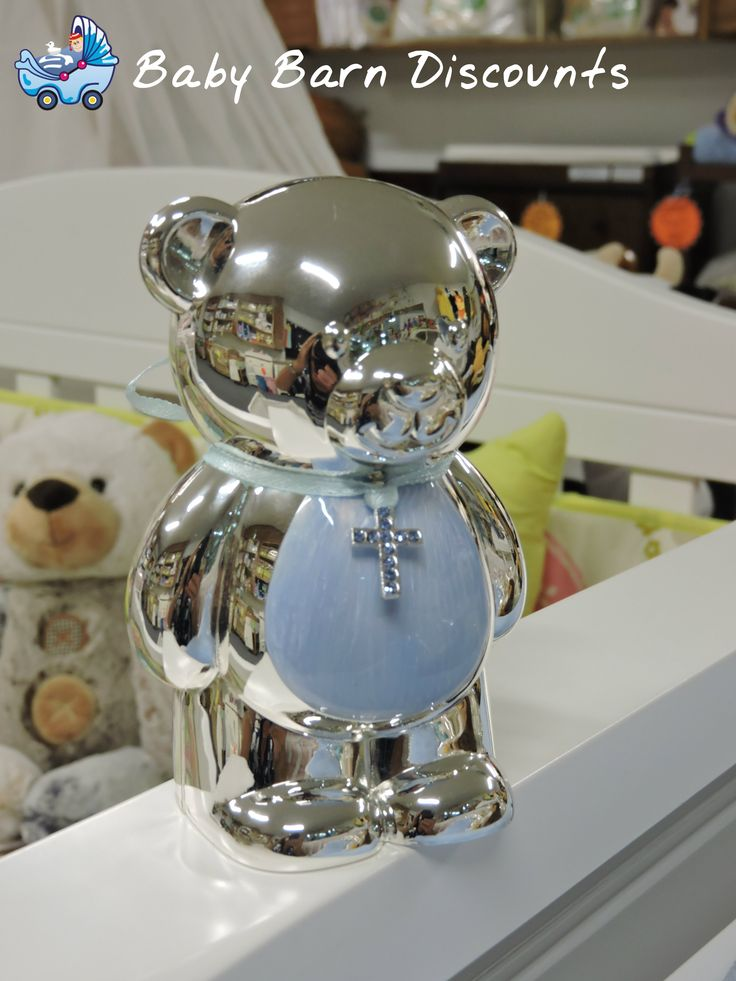 Blue Teddy Money Box Silver Plated. Beautiful silver plated money box in the shape of a teddy ideal Christening gift.