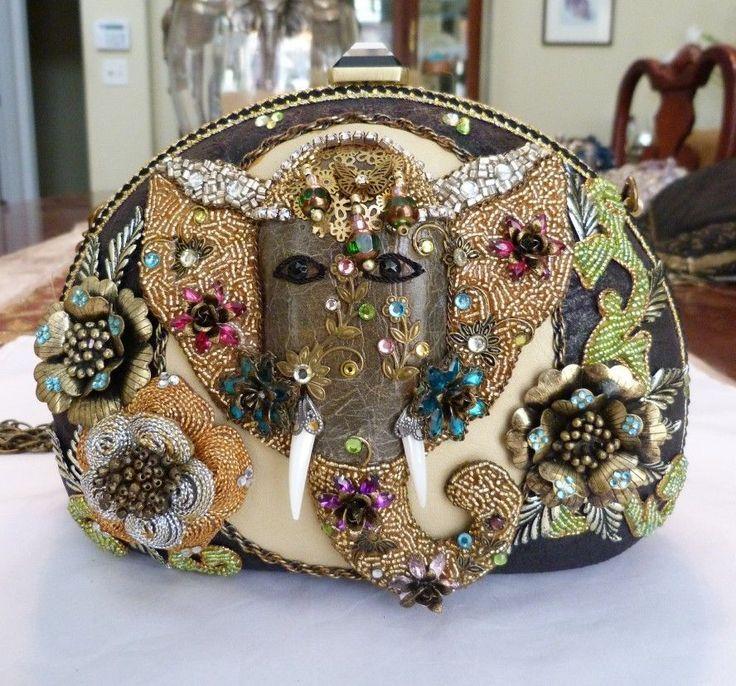Mary Frances Elephant Quest Retired Summer 2017 Beaded Leather Handbag New Tags Maryfrances Eveningbag