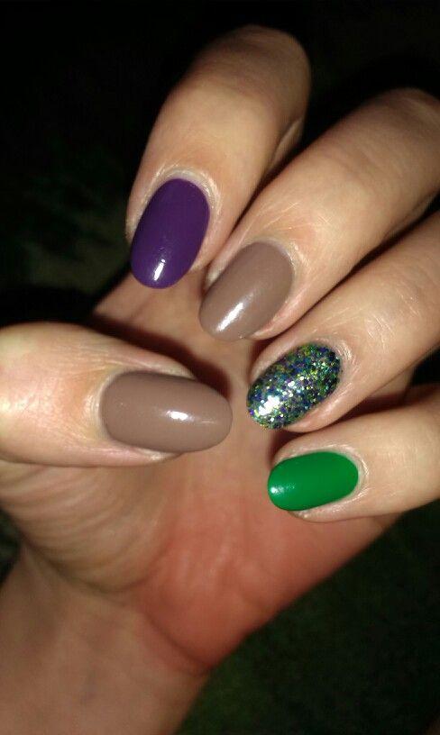 Brown,green & purple nails / Brąz,zielony i fiolet