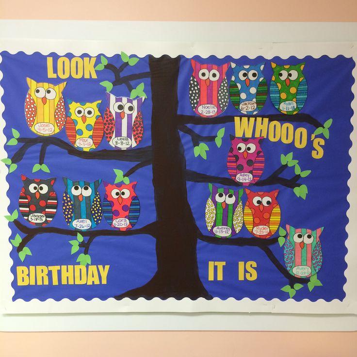 Classroom Bulletin Board Ideas With Owls ~ Owl birthday bulletin board boards pinterest