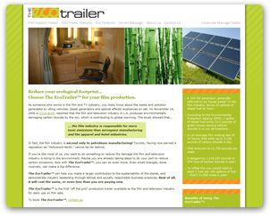 A web site we loved creating for The EcoTrailer™; which aims to reduce the ecological footprint of film production companies!