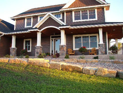 To Update The Ugly Brown Siding:  White Trim  New Roof  Stone Details Dark  Brown Siding House Pictures