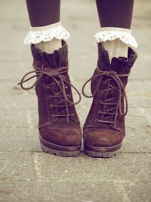 For a more girly vintage touch to a pair of brown lace up boots, add a pair of frilly lace socks