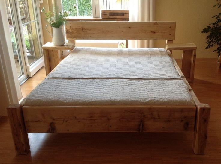 bett aus dielen mit beistelltischen - Bett Backboard Ideen