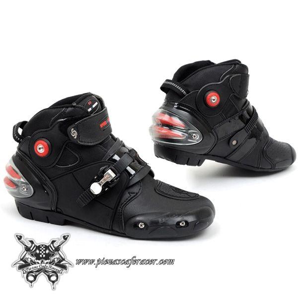 70,91€ - ENVÍO GRATIS - Botas Racing Piloto de Moto con Protecciones en Fibra de Carbono Color Rojo/Negro