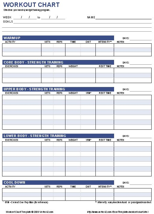 Download the Workout Chart Template from Vertex42.com
