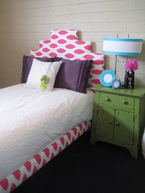 DIY headboard from a basic IKEA bedframe. Would be so cute in a college dorm or first apartment! #dormstyle #college