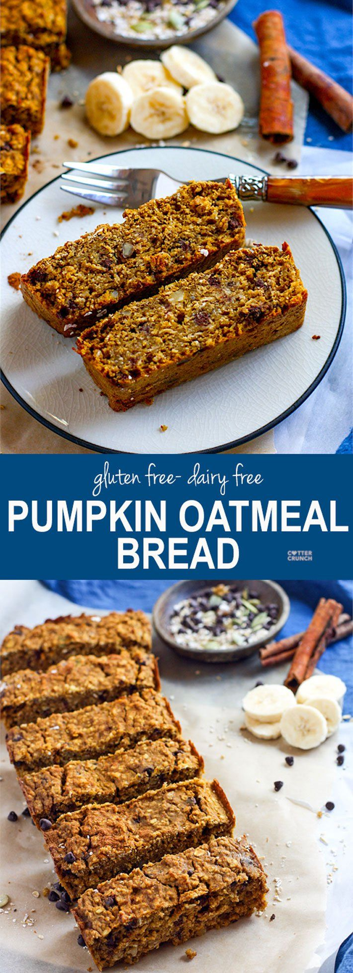 Pumpkin is so heavenly to bake with! This Gluten Free Pumpkin Oatmeal Bread is great for holiday gifts, breakfast, and more! plus you can add in any fixins! Cranberry, chocolate chips, you name it! Ready in 30 minutes and with simple ingredients and dairy free option. www.cottercrunch.com