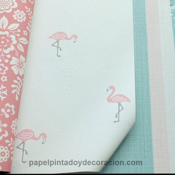 Papel pintado vinílico flamenco rosa fondo blanco textura rugosa PDW9112005