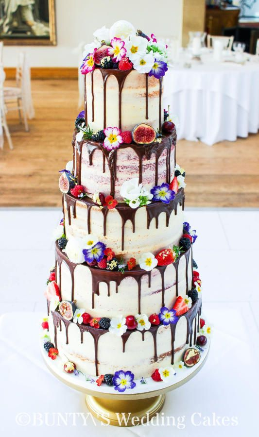 Semi Naked Drip Cake by Bunty's Wedding Cakes - http://cakesdecor.com/cakes/271404-semi-naked-drip-cake