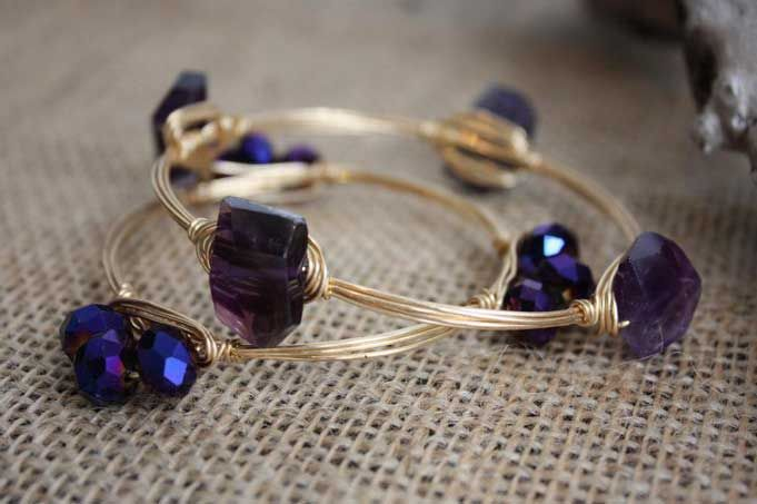 Purple and Gold Bracelet by Bourbon and Bowties #jewelry