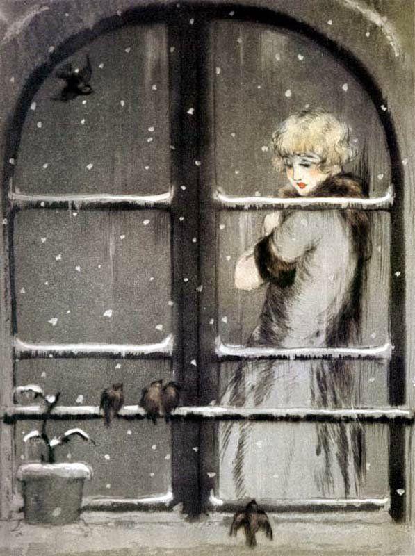 Louis Icart: Winter Birds.