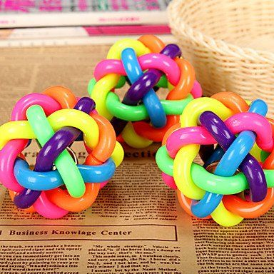 BuW Rubber Multicolor Winding Chew Ball with Bell for Pets pet supermarket toys pet warehouse supplies online interactive dog toys ** Want additional info? Click on the image.