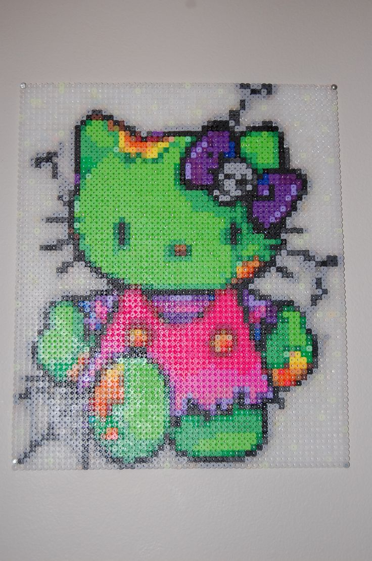 Zombie Hello Kitty perler bead art made by me amanda wasend