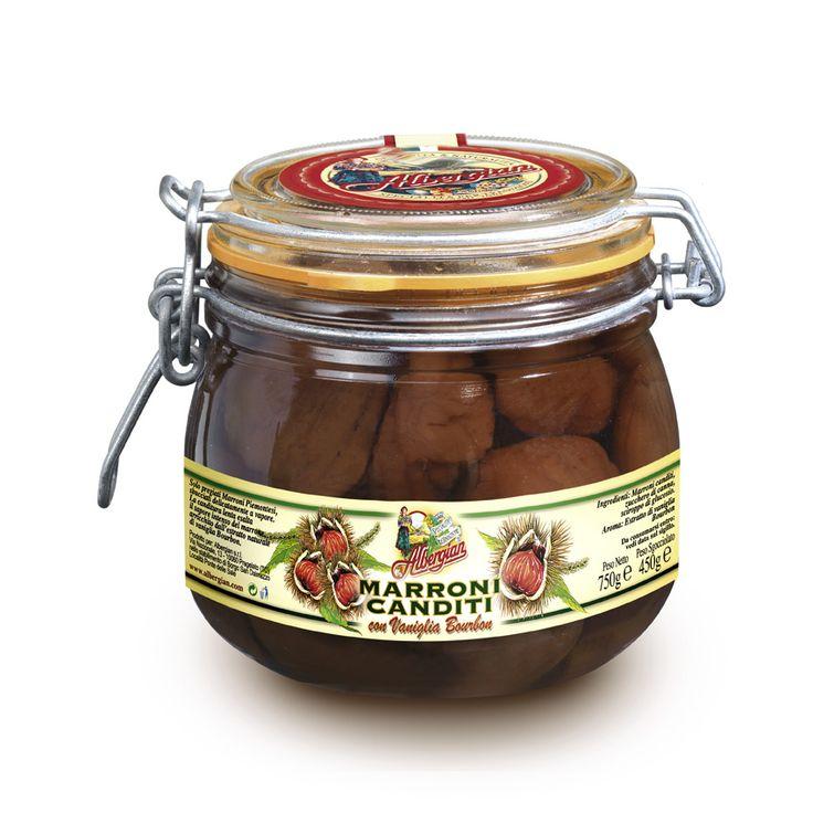 An Albergian original dessert: canned chestnuts. The taste of italian food.