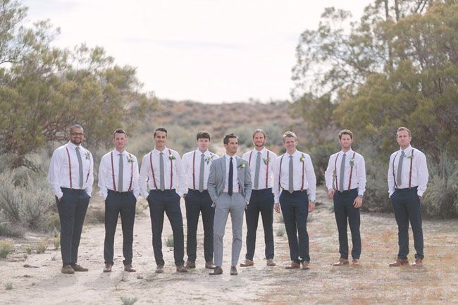 groomsmen, with lighter pants, and grey shoes?  colored suspenders  instead of black?, to match some colors in the bouquets?