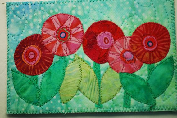 Field of flowers fabric postcard.  Would make a fun mug rug